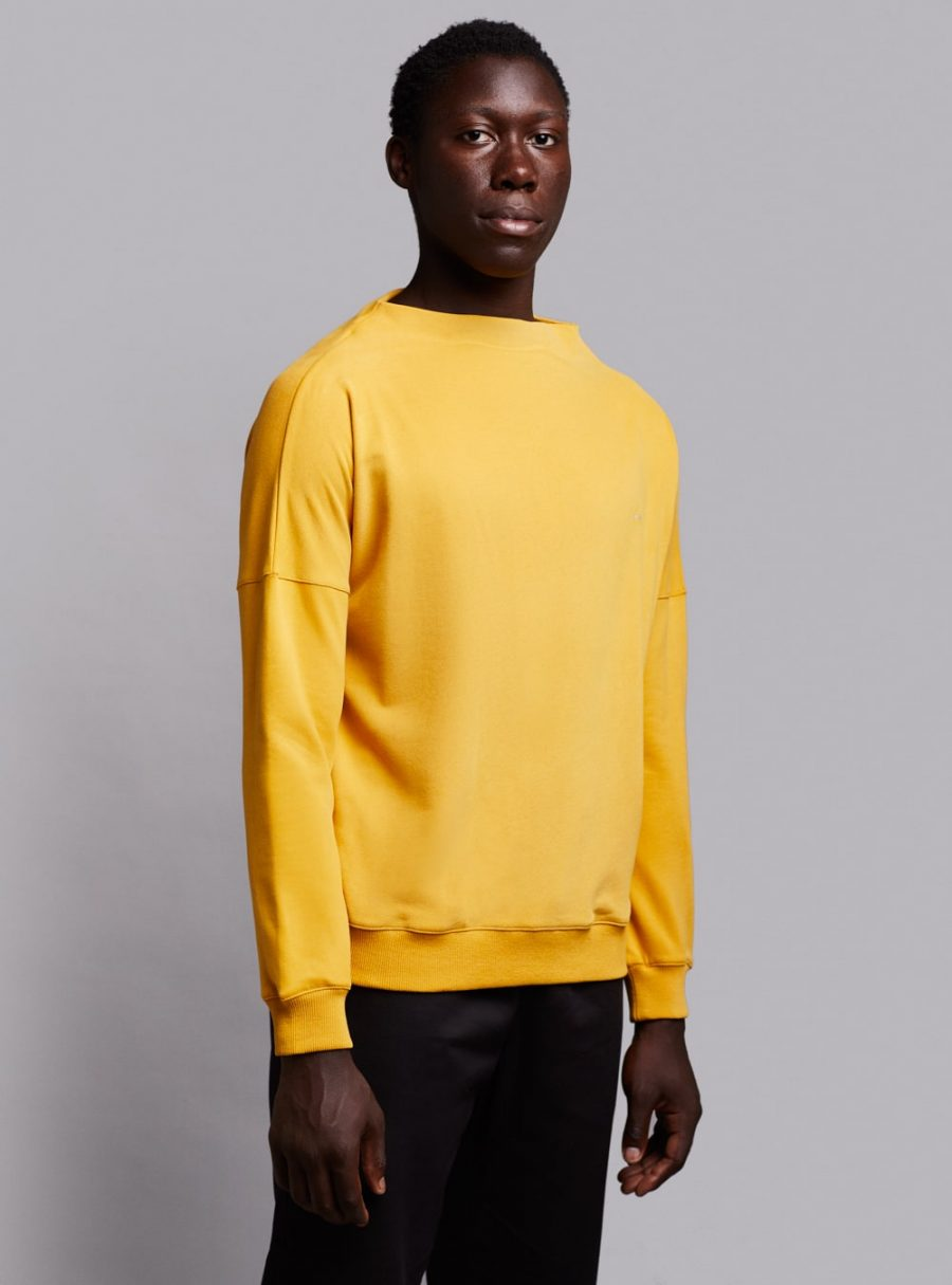 Deconstructed sweatshirt (mustard) in organic cotton, made in Portugal by wetheknot.