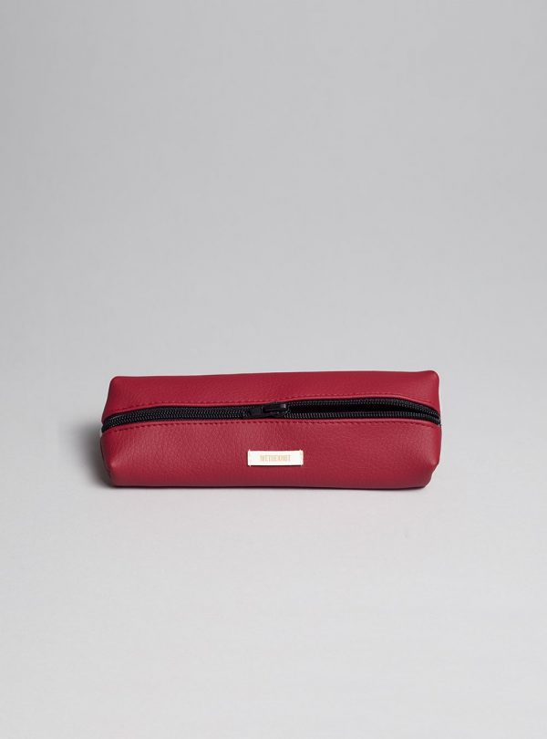 Pencil case (cherry) in vegan leather, made in Portugal by wetheknot.