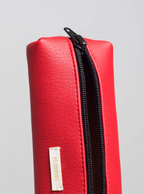 Pencil case (red) in vegan leather, made in Portugal by wetheknot.