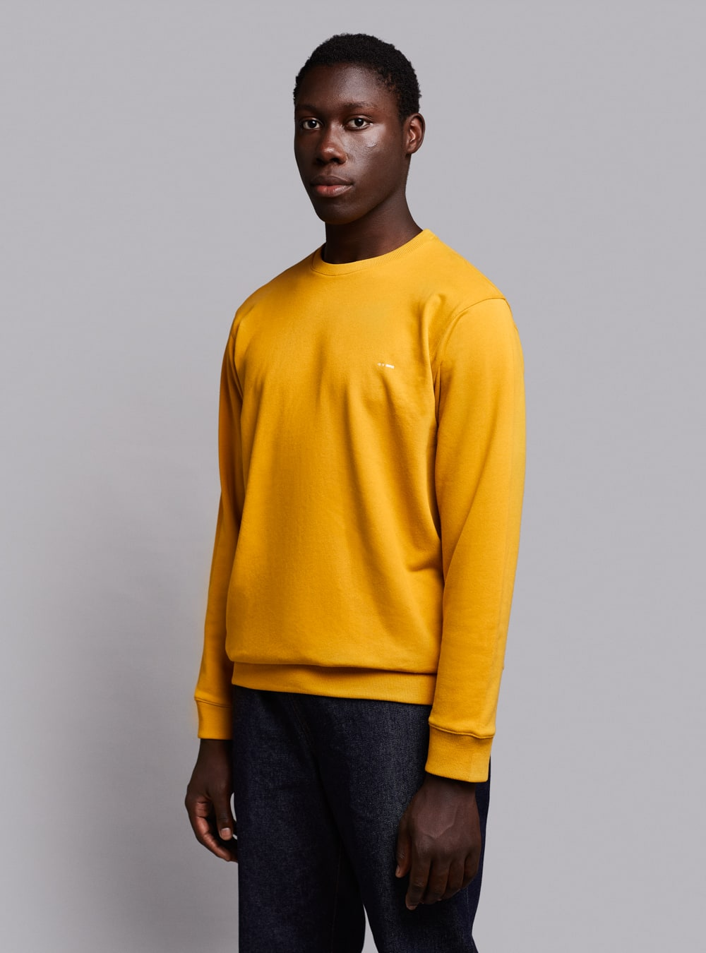 Essential sweatshirt (mustard) in organic cotton, made in Portugal by wetheknot.