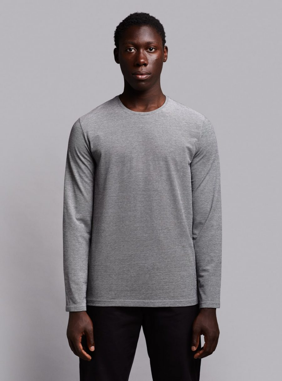 Piqué long sleeve (black melange) in organic cotton, made in Portugal by wetheknot.