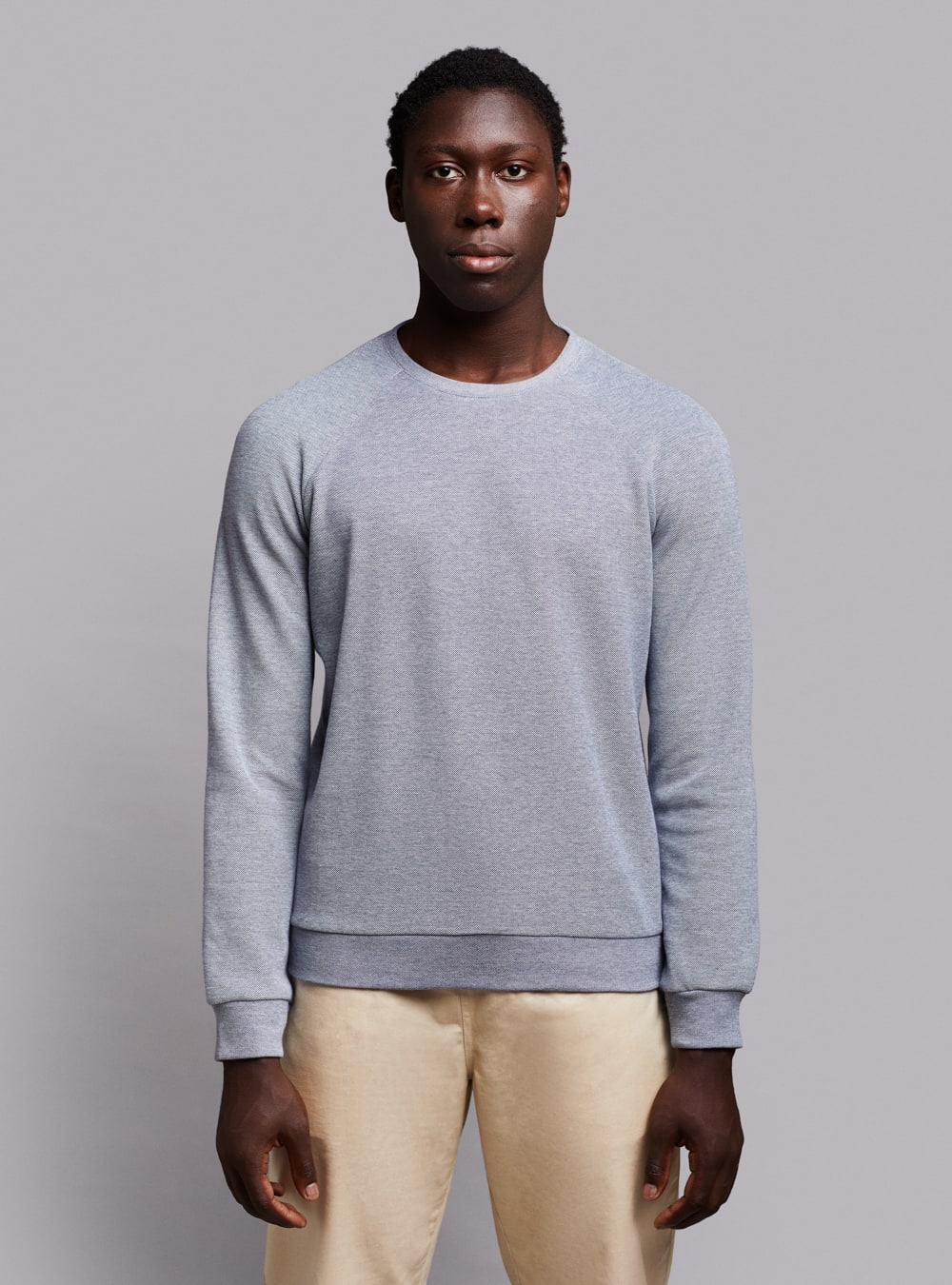 Piqué sweatshirt (blue melange) in organic cotton, made in Portugal by wetheknot.