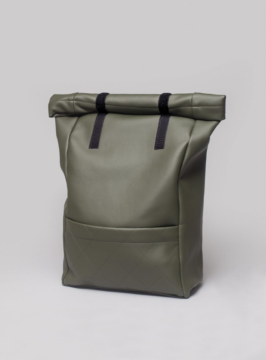 Roll–top backpack (olive green) in vegan leather, made in Portugal by wetheknot.