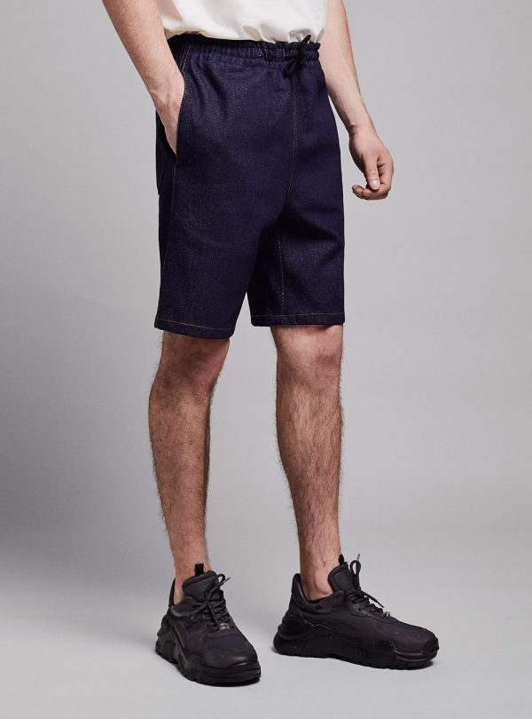 Drawstring shorts (dark denim) in cotton, made in Portugal by wetheknot.