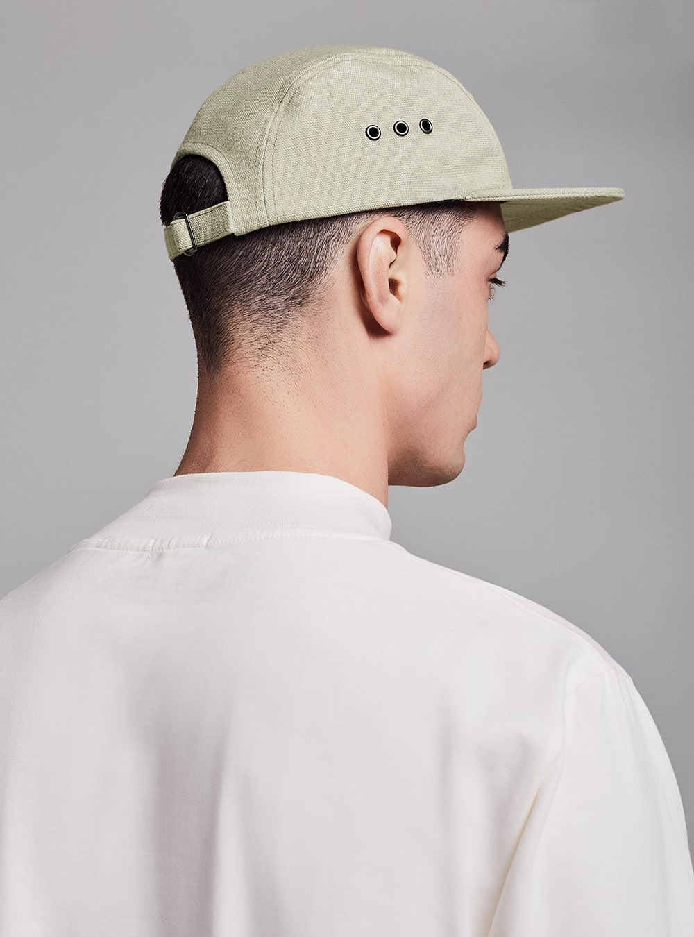 Five-panel cap (green melange) in sun and fade resistant fabric, made in Portugal by wetheknot.
