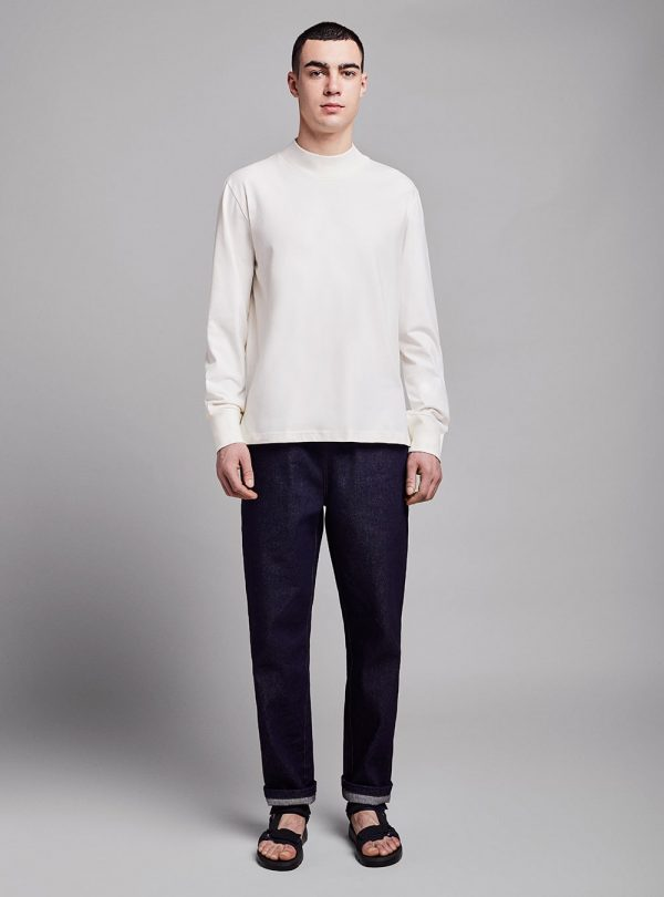 Mock neck long sleeve (warm white) in organic cotton, made in Portugal by wetheknot.