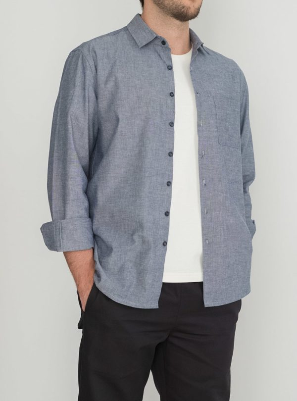 wetheknot casual shirt blue melange cotton 01 made in portugal overshirt