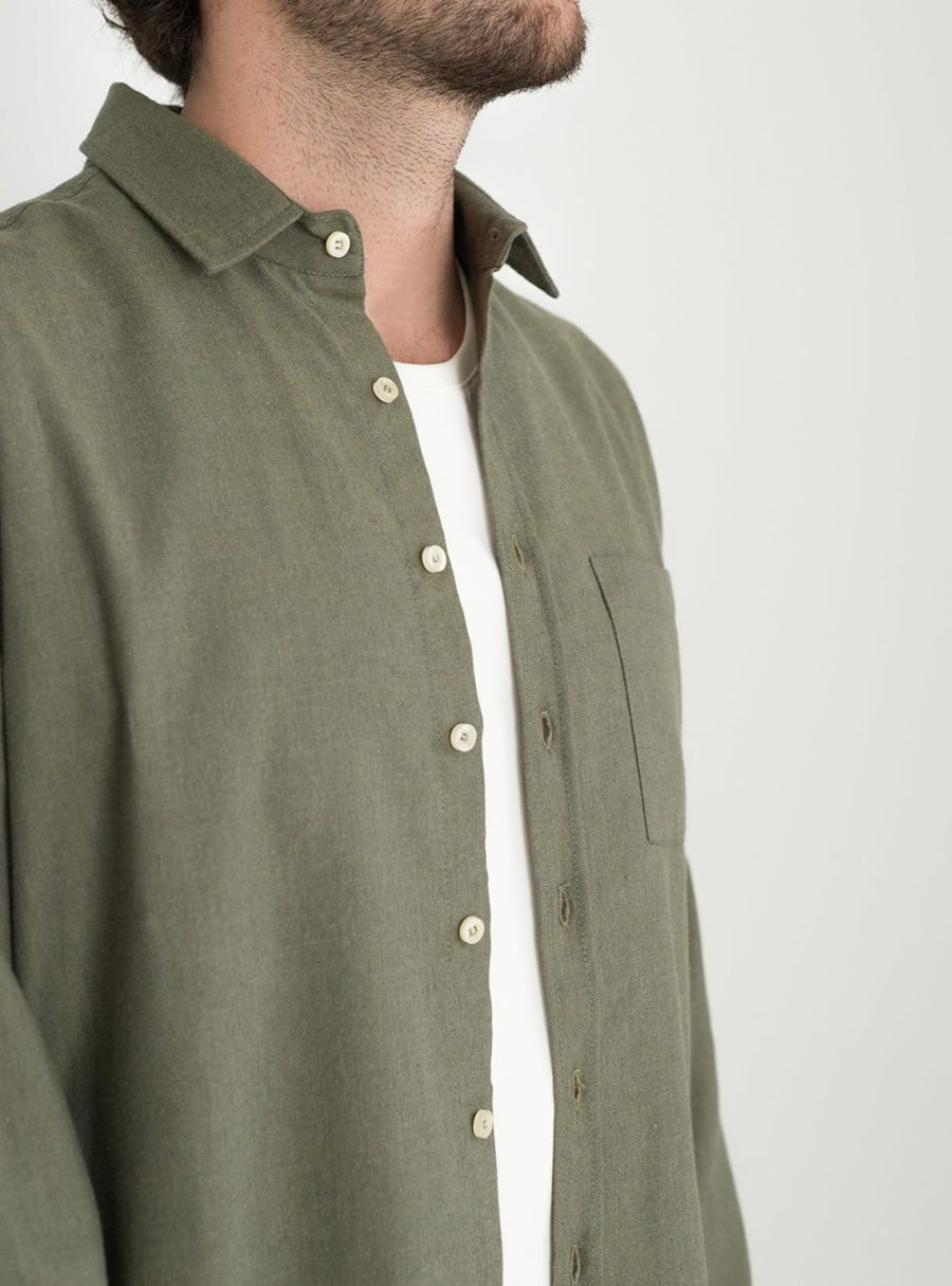 wetheknot casual shirt olive green cotton 01 overshirt