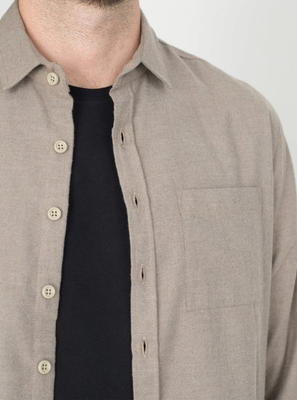 wetheknot casual shirt pale brown cotton 04