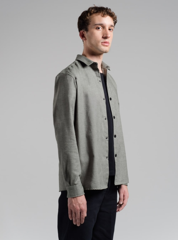 Flannel shirt (bottle grey) in cotton, made in Portugal by wetheknot.