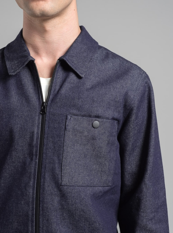 Minimal denim jacket (dark denim) in cotton, made in Portugal by wetheknot.