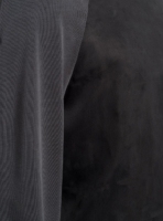 Detail of cupro sweatshirt (black) in vegan silk, made in Portugal by wetheknot.