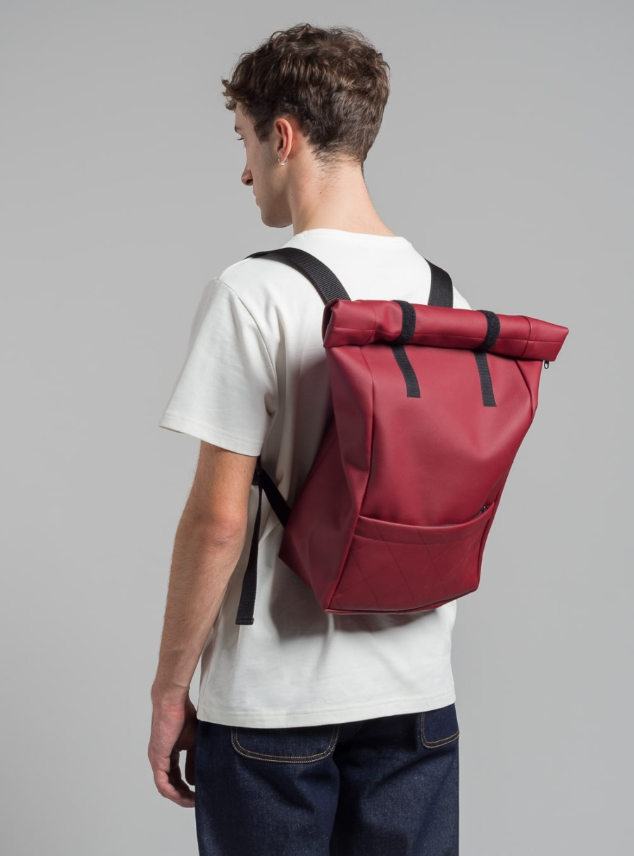 Roll–top backpack (cherry) in vegan leather, made in Portugal by wetheknot.
