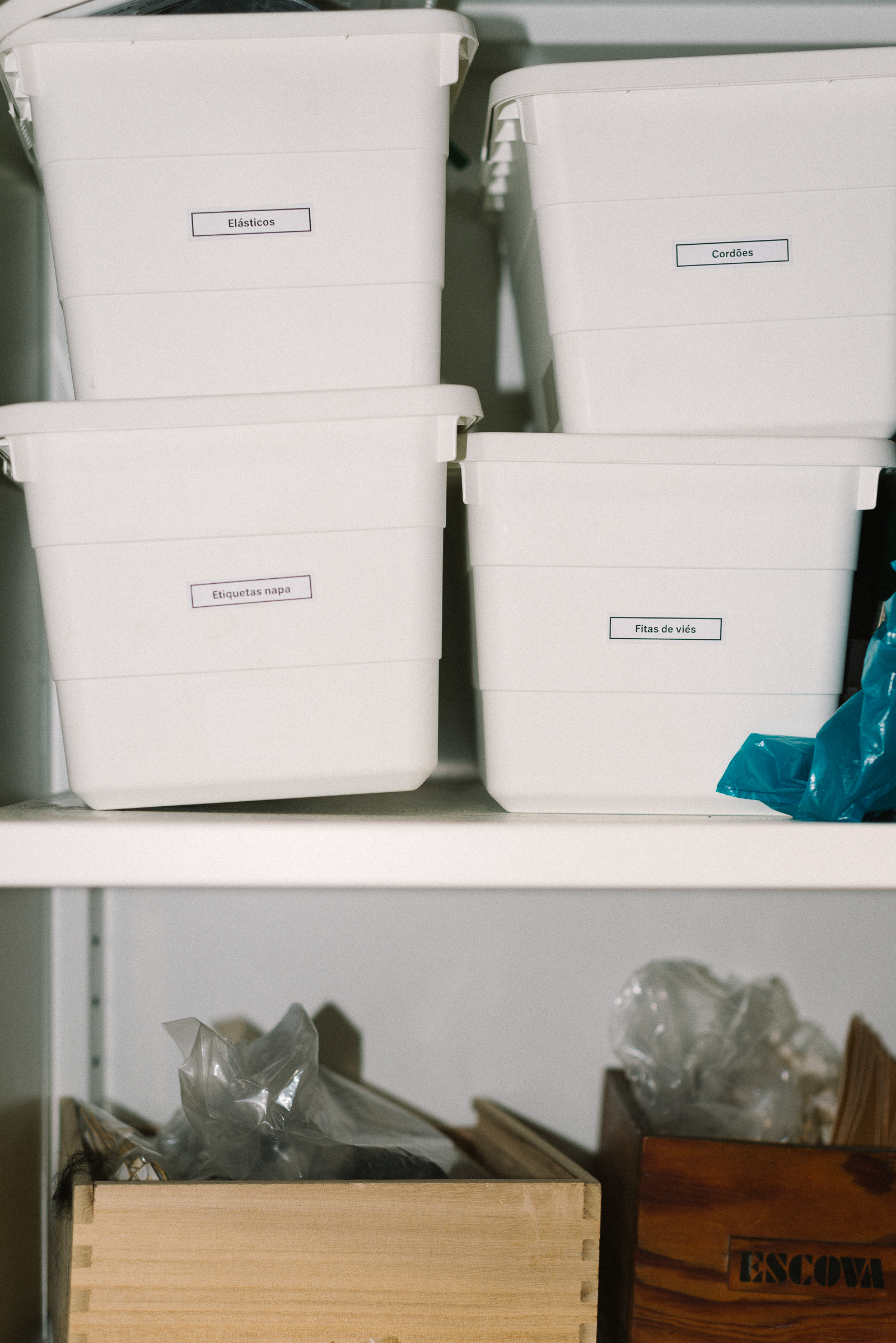 Labelled boxes with materials, a detail from wetheknot atelier