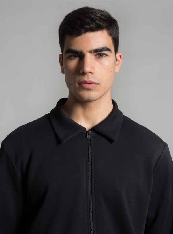Piqué harrington jacket (black) made in Portugal by wetheknot