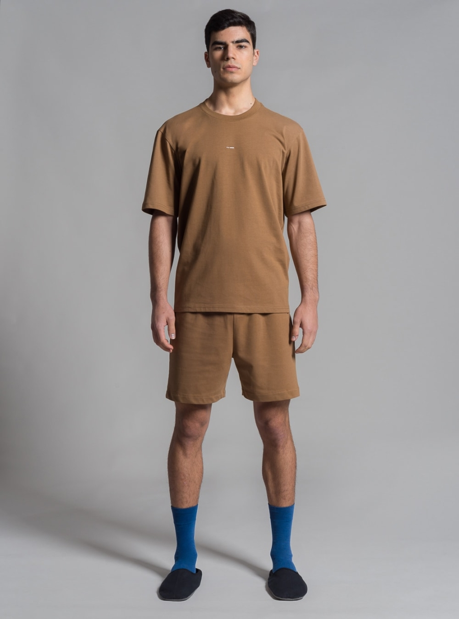 Relaxed jersey t-shirt and shorts set (brown) made in Portugal by wetheknot