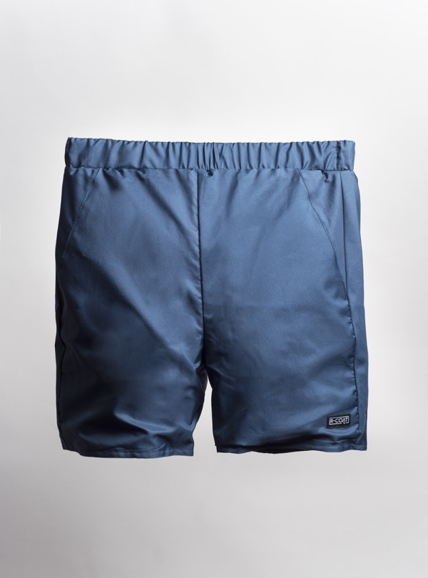 Shorts (petrol blue) made from upcycled umbrellas found in the streets, made in Portugal by wetheknot