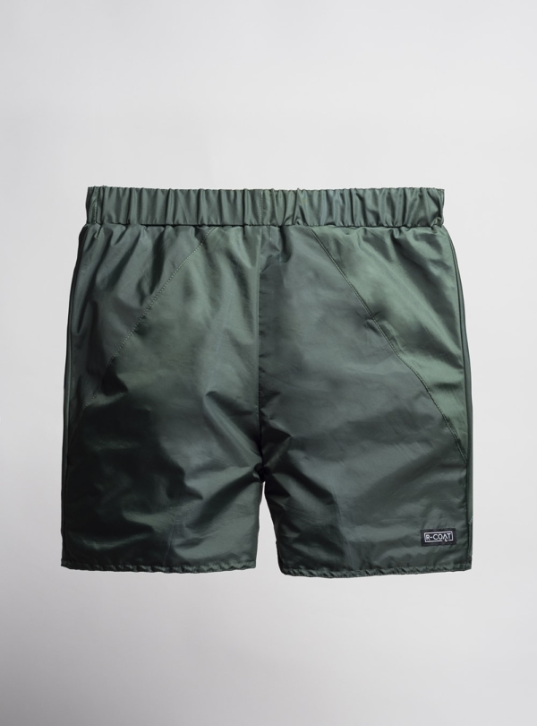 Shorts (bottle green) made from upcycled umbrellas found in the streets, made in Portugal by wetheknot