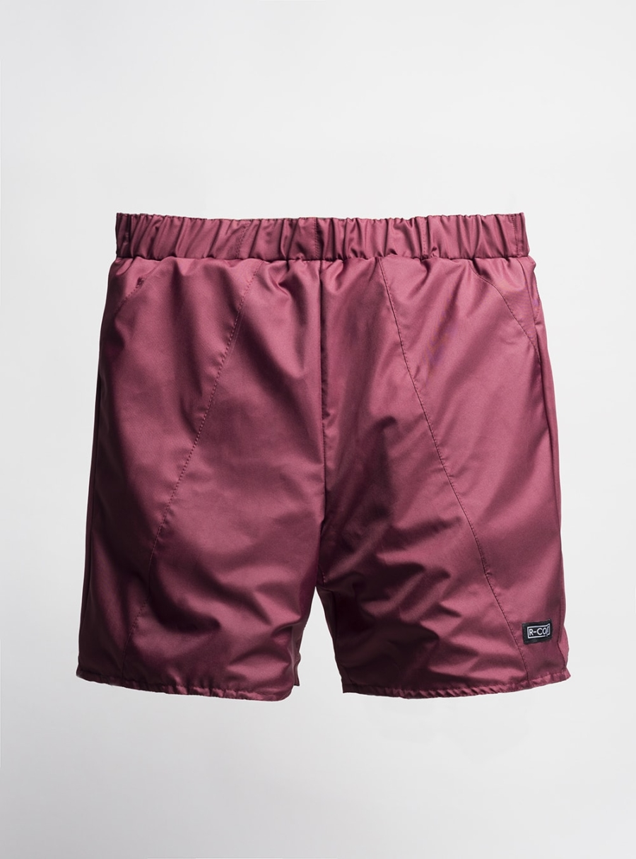 Shorts (cherry) made from upcycled umbrellas found in the streets, made in Portugal by wetheknot