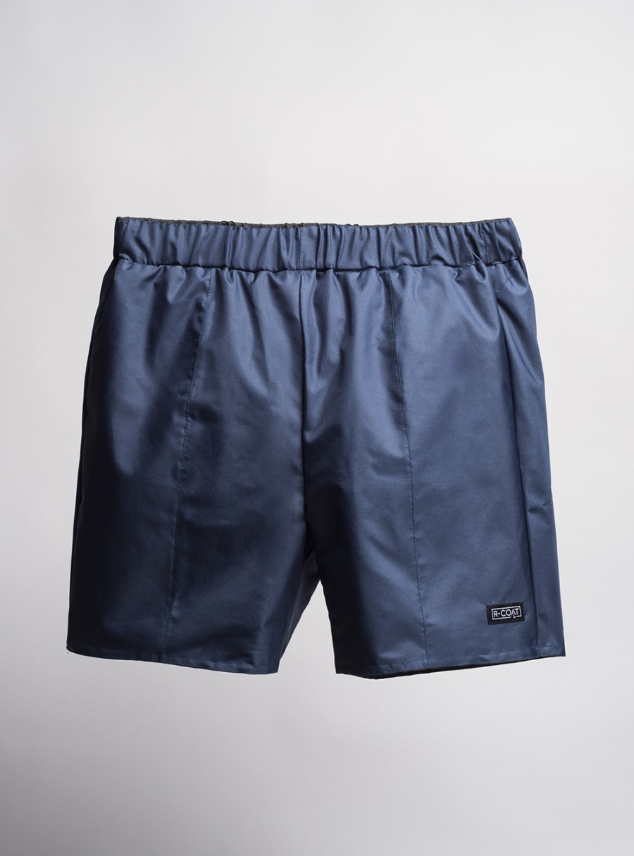 Swim shorts (navy blue) made from upcycled umbrellas found in the streets, made in Portugal by wetheknot