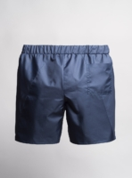 Reversible swim shorts (navy blue) made from upcycled umbrellas found in the streets, made in Portugal by wetheknot