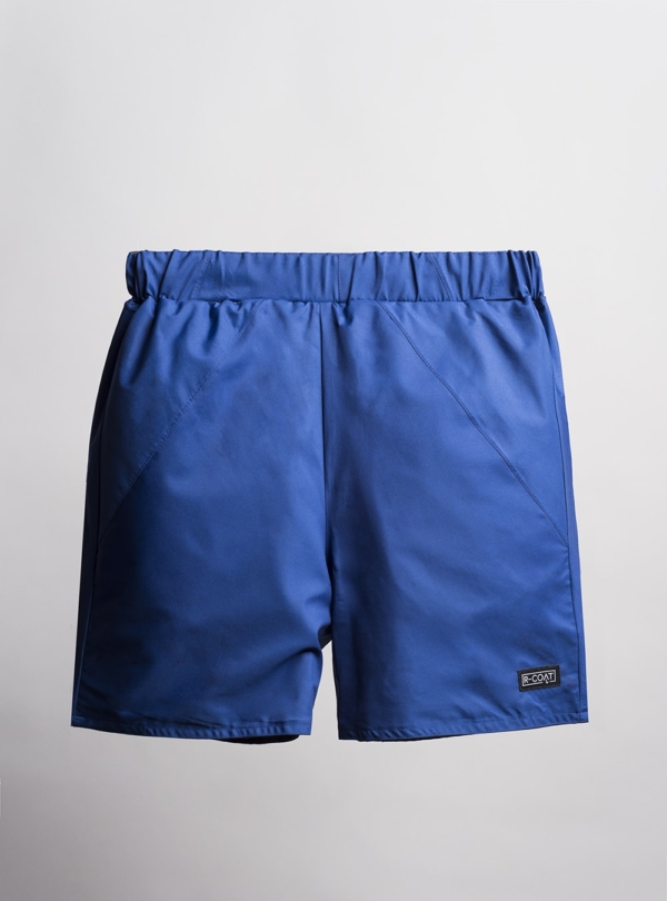 Reversible swim shorts (blue) made from upcycled umbrellas found in the streets, made in Portugal by wetheknot