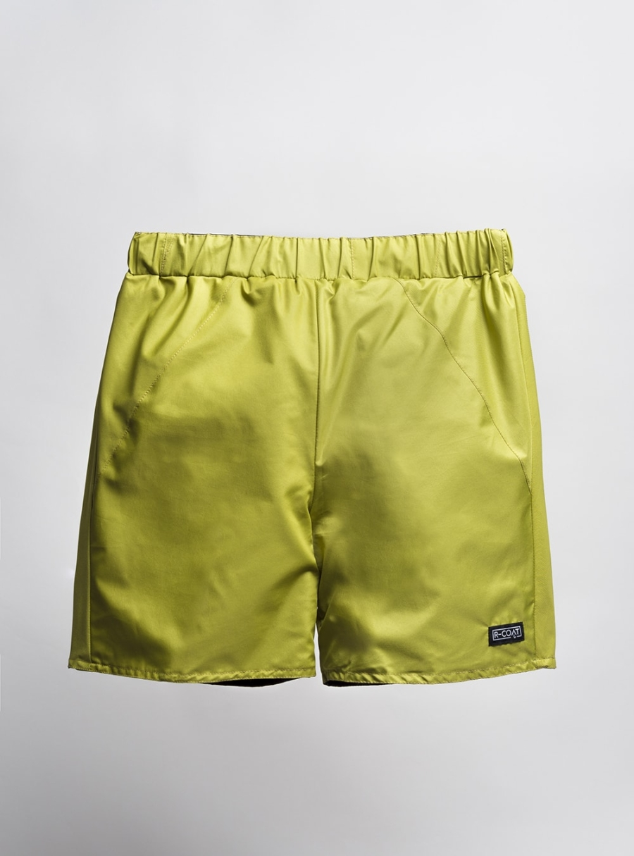 Reversible swim shorts (pistachio) made from upcycled umbrellas found in the streets, made in Portugal by wetheknot